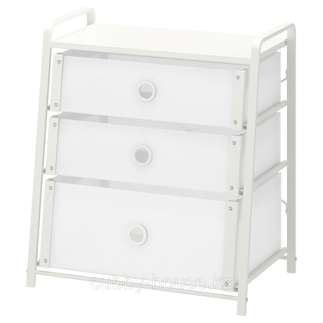 ЛОТЕ Комод с 3 ящиками, белый, 55x62 см