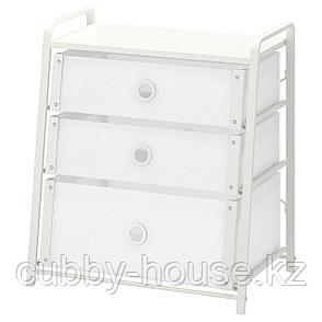 ЛОТЕ Комод с 3 ящиками, белый, 55x62 см, фото 2