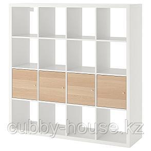 КАЛЛАКС Стеллаж с 4 вставками, белый, под беленый дуб, 147x147 см, фото 2