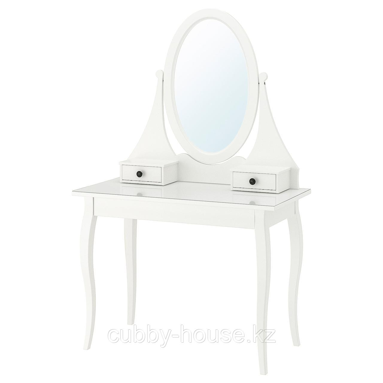 ХЕМНЭС Туалетный столик с зркл, белый, 100x50 см