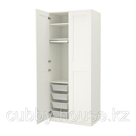 ПАКС / ГРИМО Гардероб, комбинация, белый, белый, 100x60x236 см, фото 2