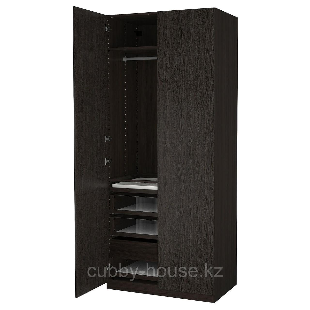 ПАКС / ФОРСАНД Гардероб, комбинация, черно-коричневый, под мореный ясень, черно-коричневый, 100x60x236 см
