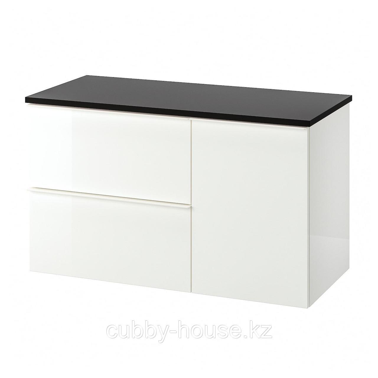 ГОДМОРГОН / ТОЛКЕН Шкаф для раковины с 2 ящ, глянцевый белый, бамбук, 102x49x60 см