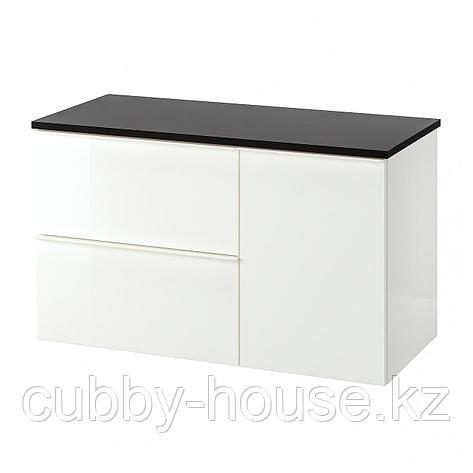 ГОДМОРГОН / ТОЛКЕН Шкаф для раковины с 2 ящ, глянцевый белый, бамбук, 102x49x60 см, фото 2