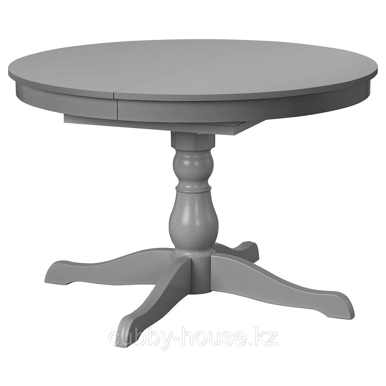 ИНГАТОРП Раздвижной стол, серый, 110/155 см
