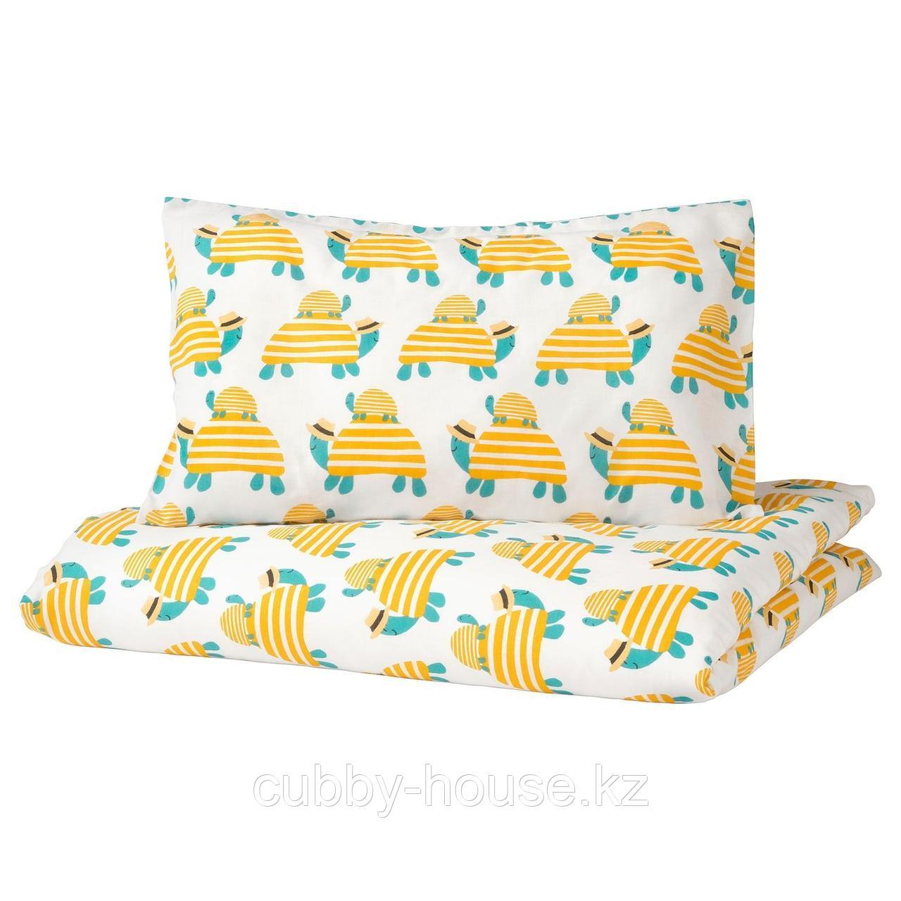 РЁРАНДЕ Пододеяльник, наволочка д/кроватки, черепаха желтый, 110x125/35x55 см
