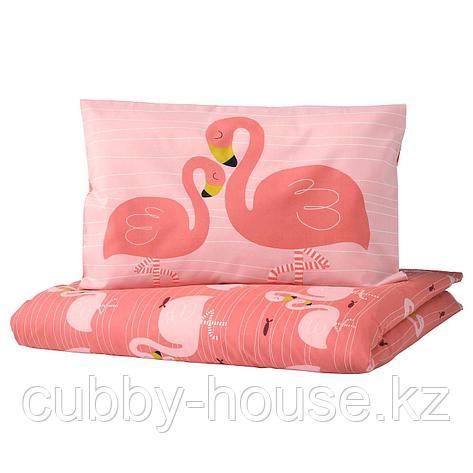РЁРАНДЕ Пододеяльник, наволочка д/кроватки, фламинго, розовый, 110x125/35x55 см, фото 2