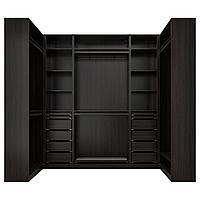 ПАКС Гардероб угловой, черно-коричневый, 113/276/113x236 см