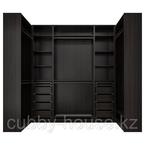 ПАКС Гардероб угловой, черно-коричневый, 113/276/113x236 см, фото 2