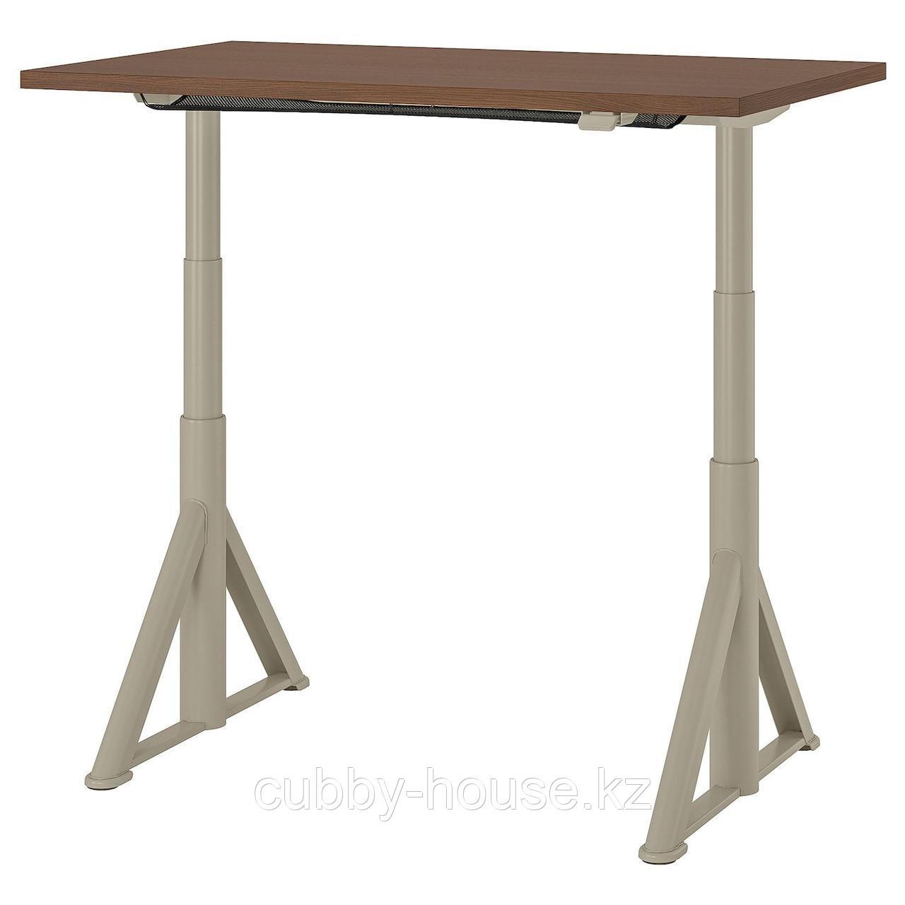 ИДОСЕН Стол/трансф, коричневый, бежевый, 120x70 см