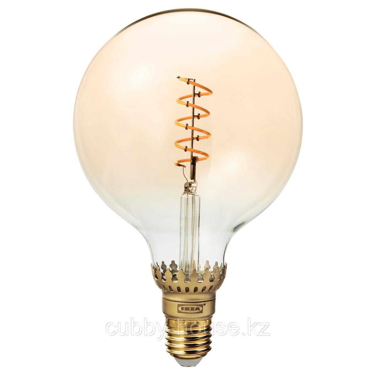 РОЛЛЬСБУ Светодиод E27 140 лм, регулируемая яркость, шаровидный коричневый, прозрачное стекло, 125 мм
