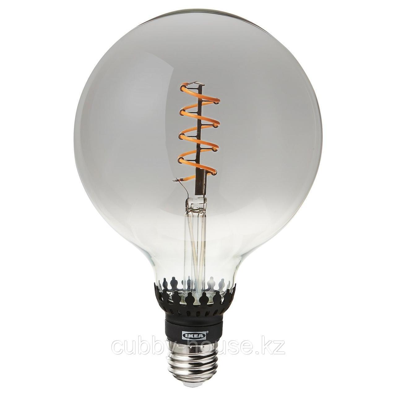 РОЛЛЬСБУ Светодиод E27 140 лм, регулируемая яркость, шаровидный серое прозрачное стекло, 125 мм