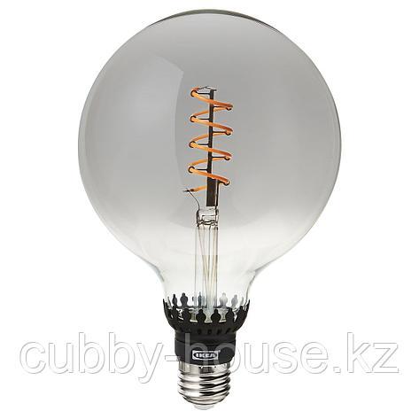 РОЛЛЬСБУ Светодиод E27 140 лм, регулируемая яркость, шаровидный серое прозрачное стекло, 125 мм, фото 2