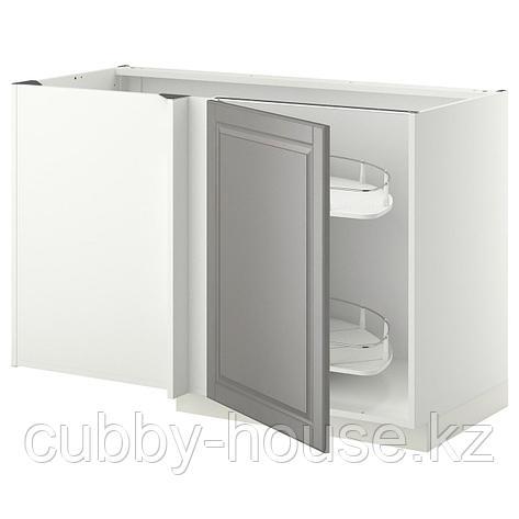 МЕТОД Угловой напол шкаф с выдвижн секц, белый, Будбин серый, 128x68 см, фото 2