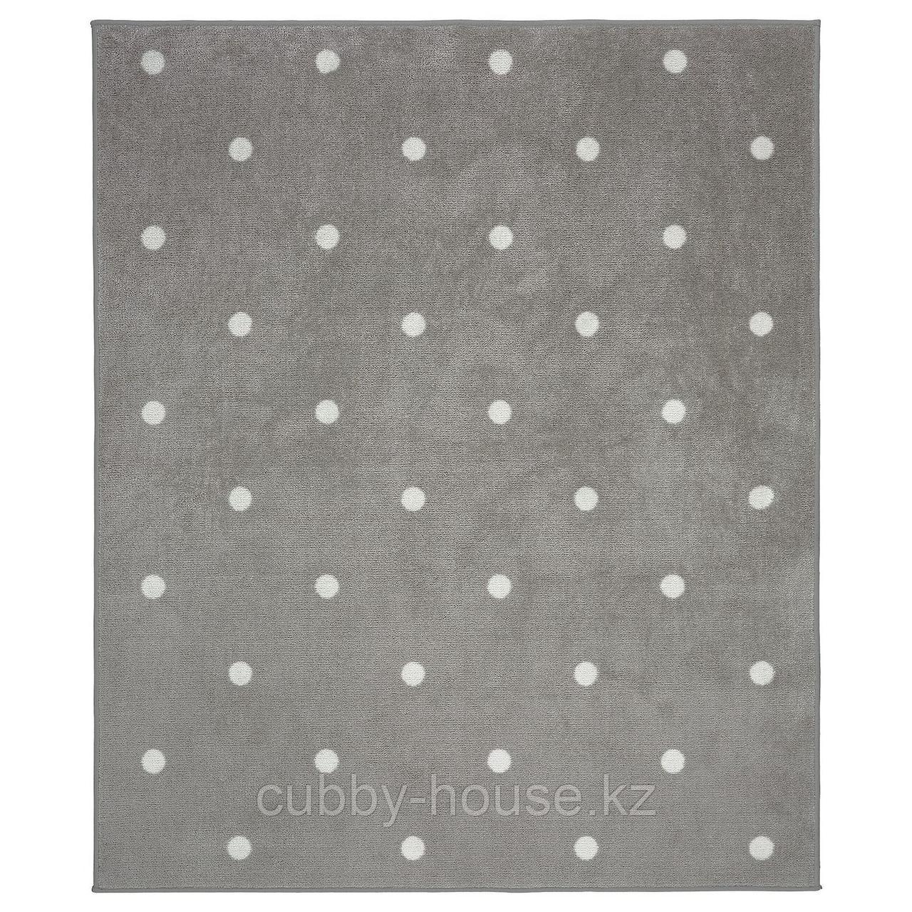 ЛЕН Ковер, точечный, серый, 133x160 см