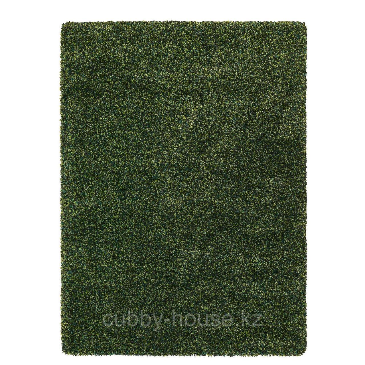 ВИНДУМ Ковер, длинный ворс, зеленый, 133x180 см