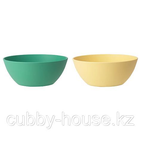ХЭРОИСК Миска, зеленый, желтый, 14 см, фото 2