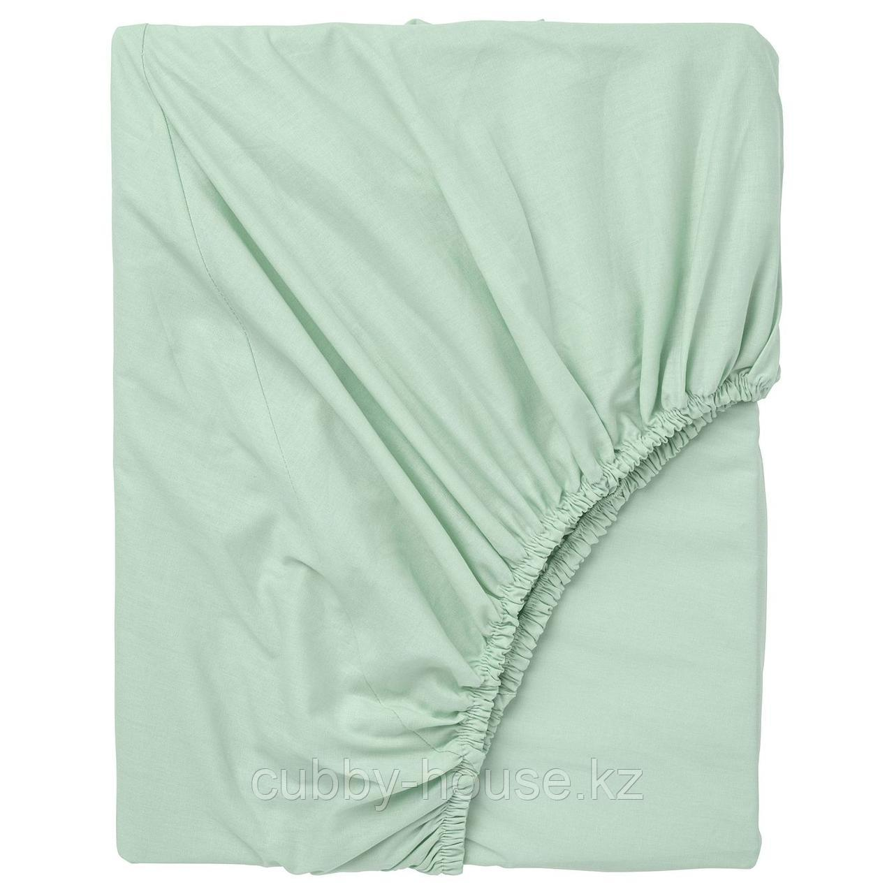 ДВАЛА Простыня натяжная, светло-зеленый, 80x200 см