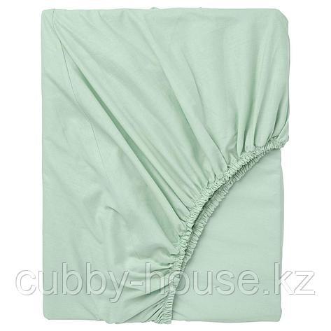 ДВАЛА Простыня натяжная, светло-зеленый, 80x200 см, фото 2
