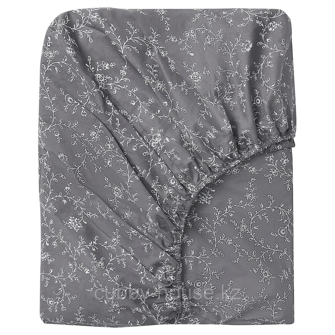 КОППАРРАНКА Простыня натяжная, с цветочным орнаментом, 160x200 см