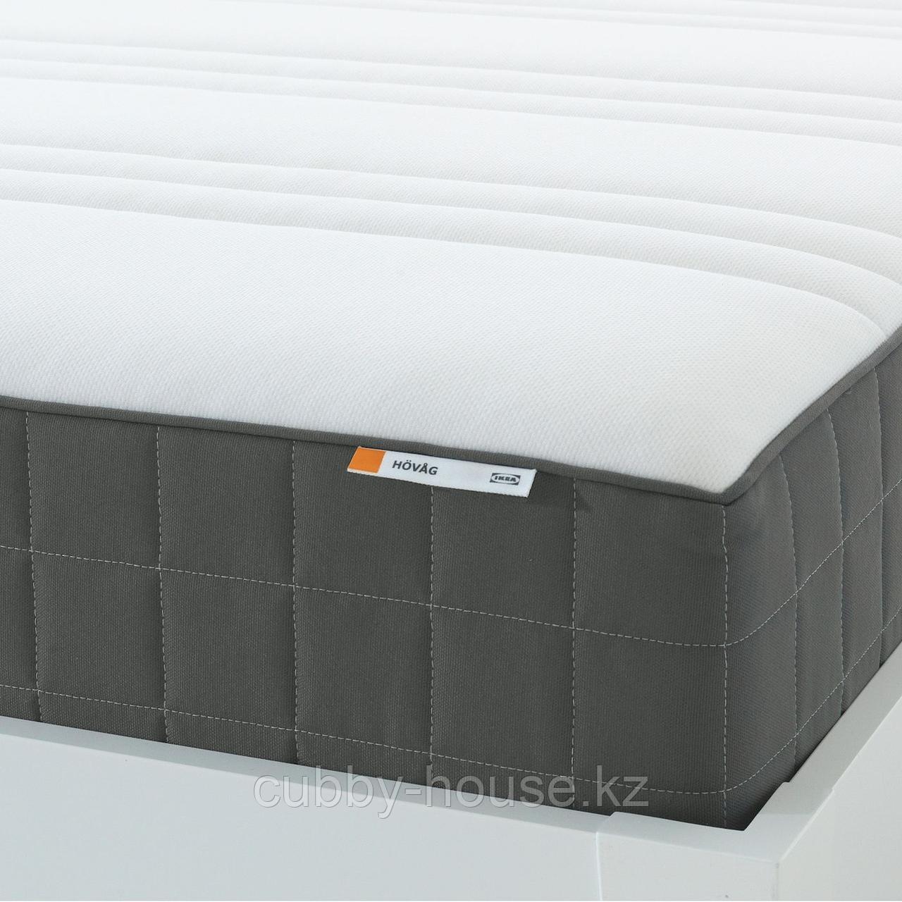ХОВОГ Матрас с пружинами карманного типа, очень жесткий, темно-серый, 160x200 см