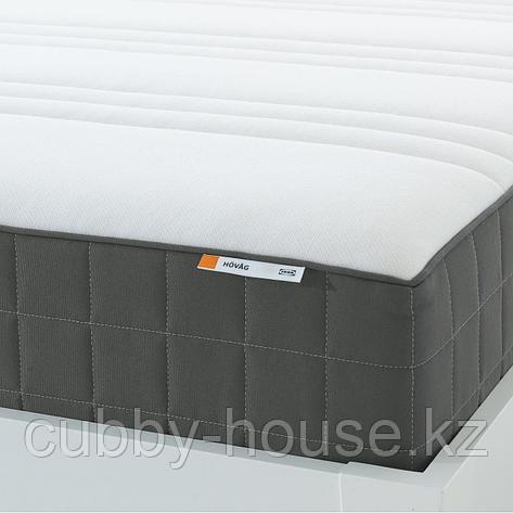 ХОВОГ Матрас с пружинами карманного типа, очень жесткий, темно-серый, 160x200 см, фото 2