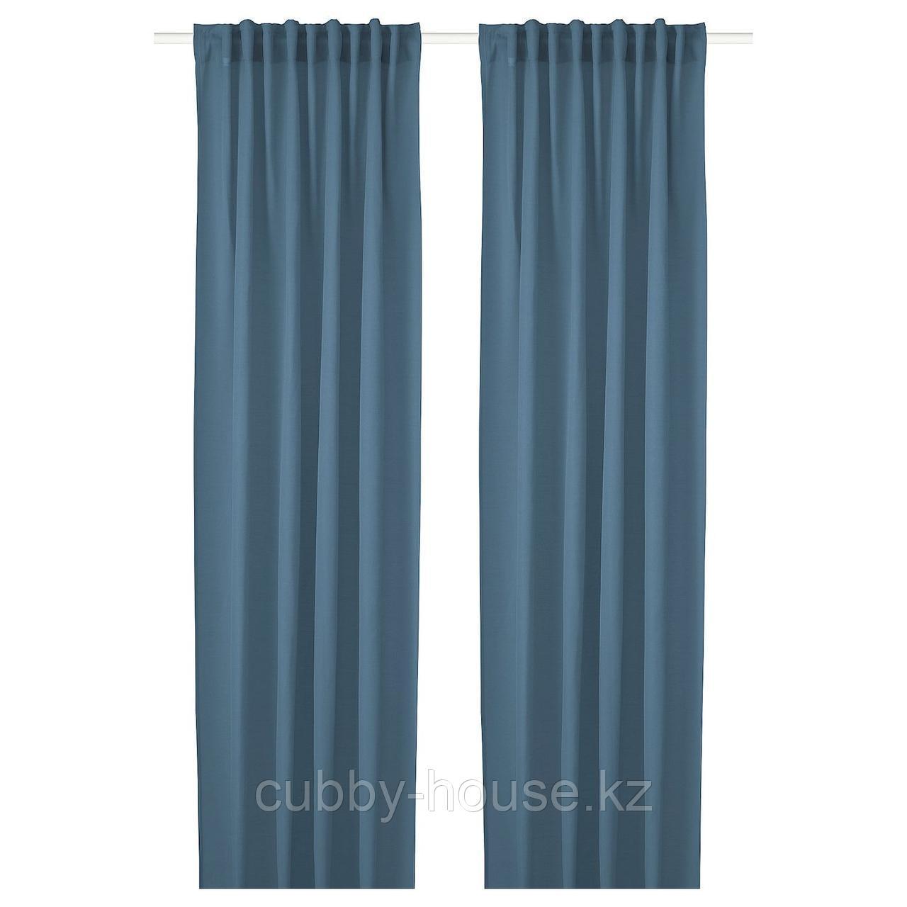 ХИЛЬЯ Гардины, 1 пара, синий, 145x300 см