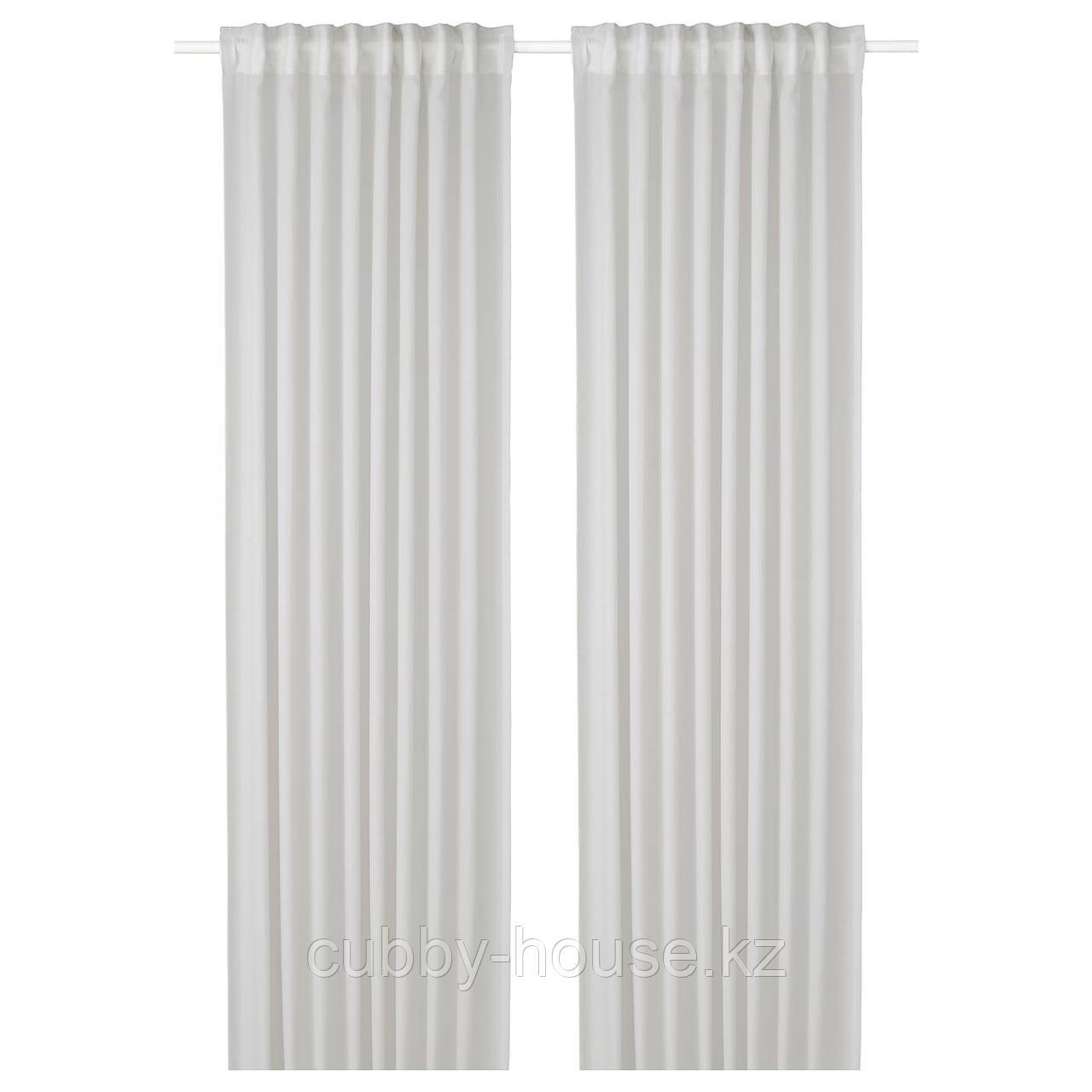 ГУНРИД Гардины, очищающие воздух, 1 пара, светло-серый, 145x300 см