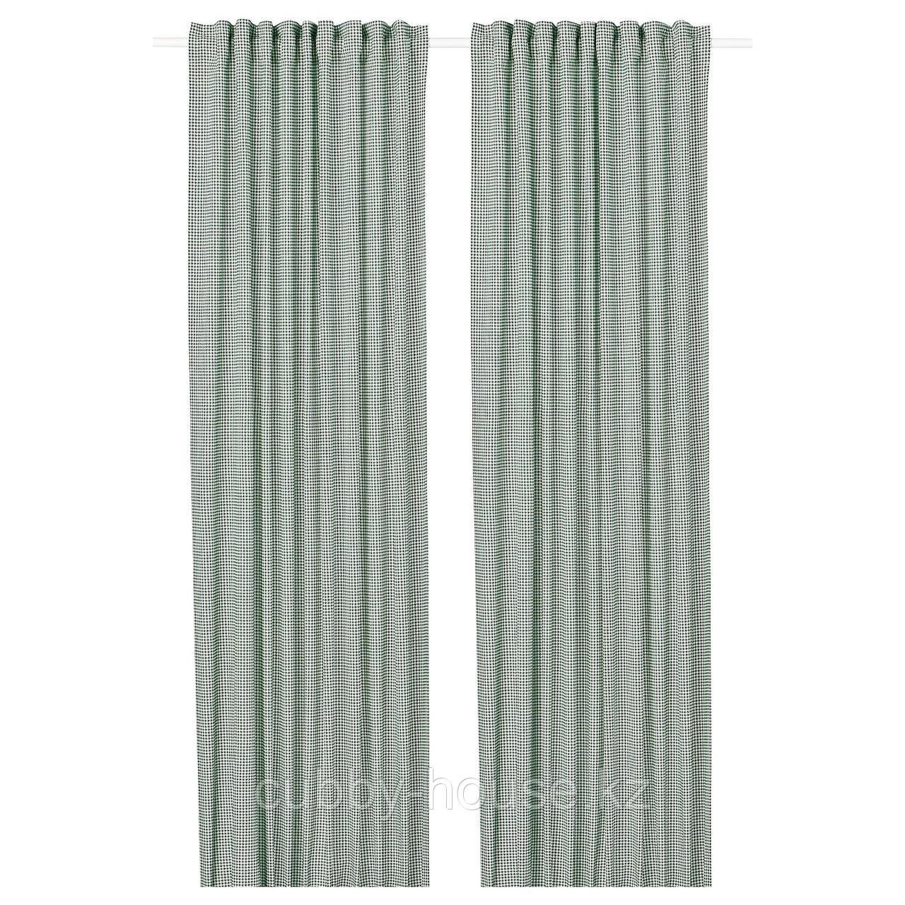 ОРДЕНСФЛИ Гардины, 1 пара, бел/зелен, 145x300 см