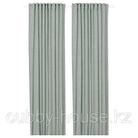 ОРДЕНСФЛИ Гардины, 1 пара, бел/зелен, 145x300 см, фото 2