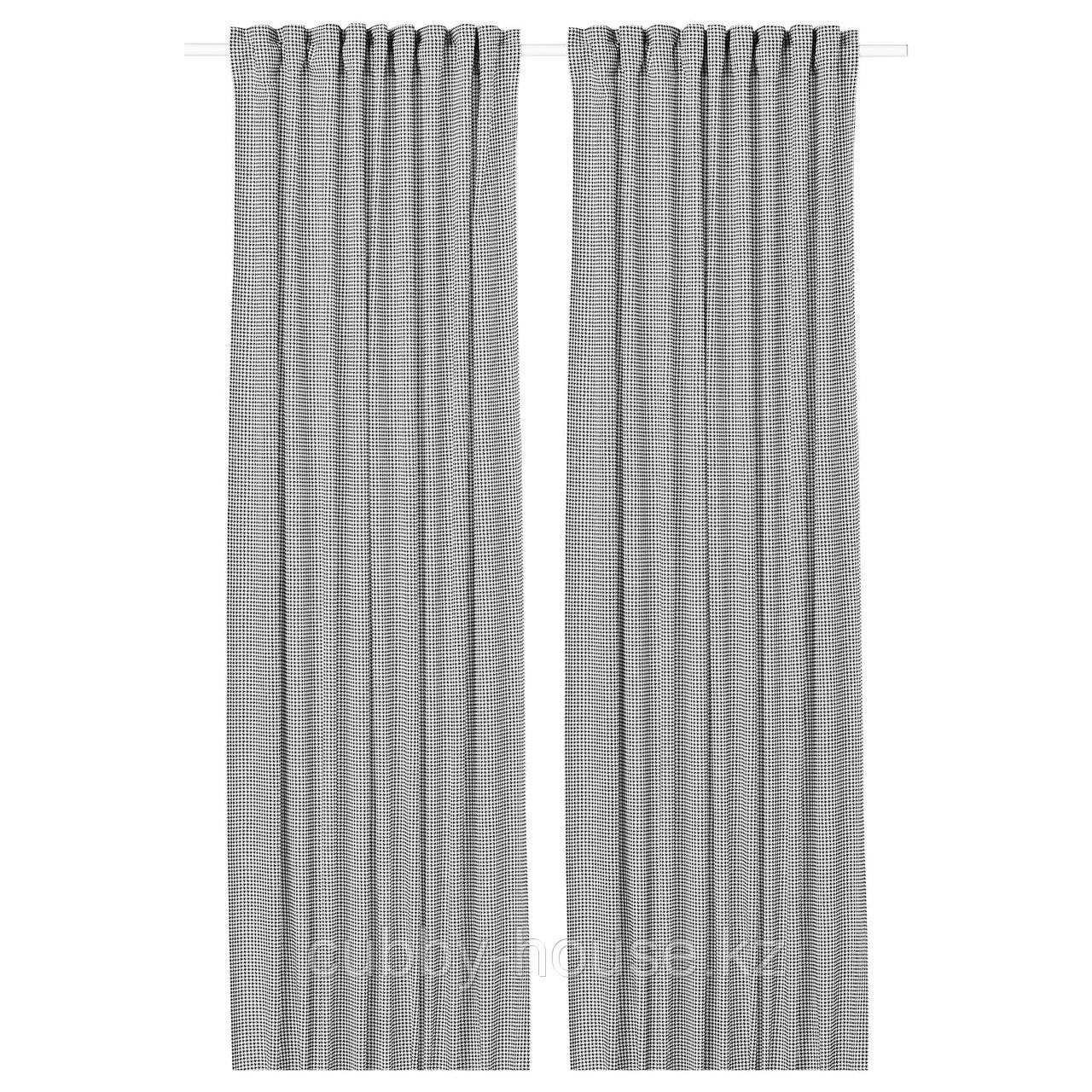 ОРДЕНСФЛИ Гардины, 1 пара, белый/темно-серый, 145x300 см
