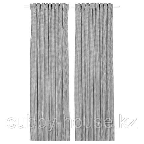 ОРДЕНСФЛИ Гардины, 1 пара, белый/темно-серый, 145x300 см, фото 2