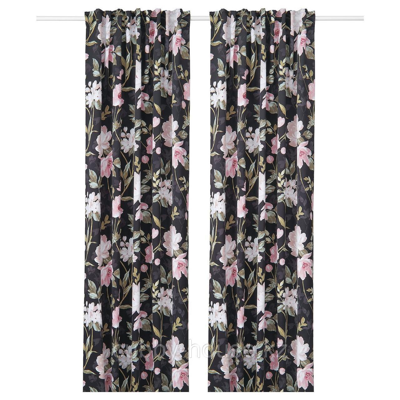 РОЗЕНМОТТ Гардины, блокирующие свет, 1 пара, черный, с цветочным орнаментом, 145x300 см