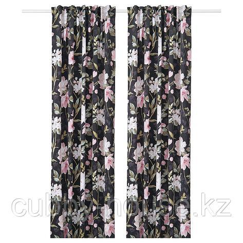 РОЗЕНМОТТ Гардины, блокирующие свет, 1 пара, черный, с цветочным орнаментом, 145x300 см, фото 2