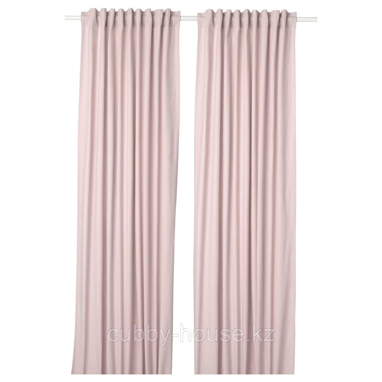 КАЛКФЛАЙ Гардины, 1 пара, светло-розовый, 145x300 см