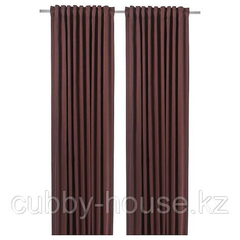 БЛОХУВА Гардины, блокирующие свет, 1 пара, коричнево-красный, 145x300 см, фото 2