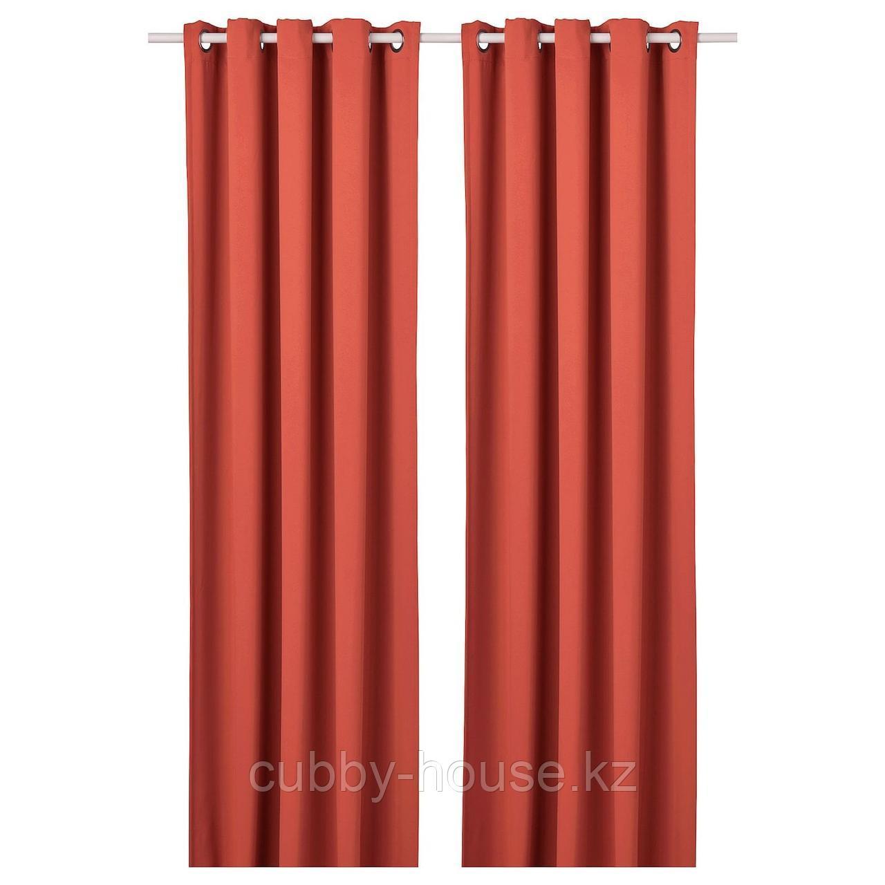 ХИЛЛЕБОРГ Затемняющие гардины, 1 пара, коричнево-красный, 145x300 см