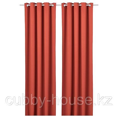 ХИЛЛЕБОРГ Затемняющие гардины, 1 пара, коричнево-красный, 145x300 см, фото 2