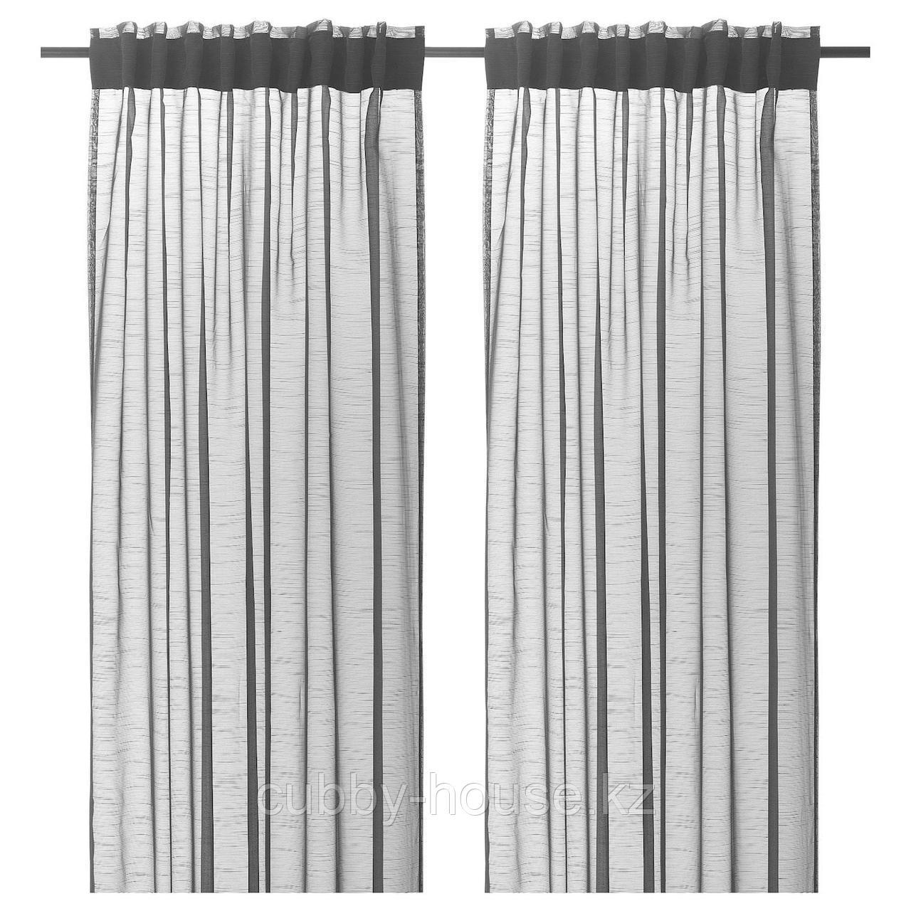 ГЕРТРУД Гардины, 2 шт., темно-серый, 145x300 см