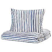 СОНГЛЭРКА Пододеяльник и 1 наволочка, в полоску, синий белый, 150x200/50x70 см