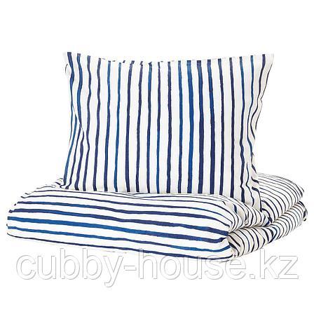 СОНГЛЭРКА Пододеяльник и 1 наволочка, в полоску, синий белый, 150x200/50x70 см, фото 2