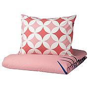 ГРАСИОС Пододеяльник и 1 наволочка, под плитку, розовый, 150x200/50x70 см