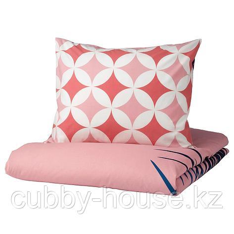 ГРАСИОС Пододеяльник и 1 наволочка, под плитку, розовый, 150x200/50x70 см, фото 2