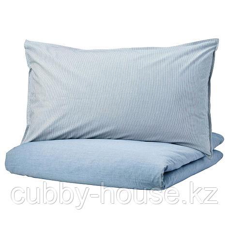 БЛОВИНДА Пододеяльник и 2 наволочки, голубой, 200x200/50x70 см, фото 2