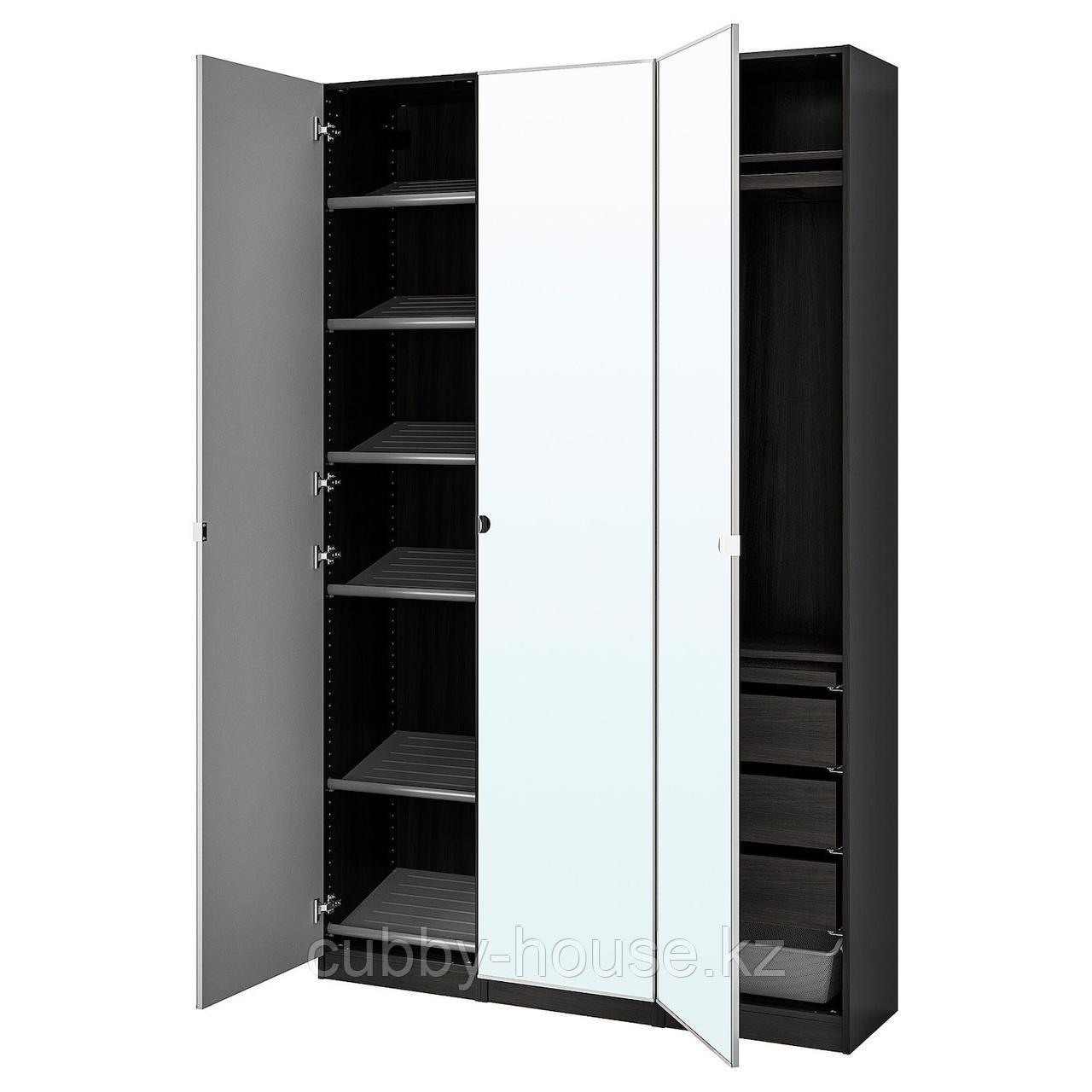ПАКС / ВИКЕДАЛЬ Гардероб, комбинация, черно-коричневый, зеркальное стекло, 150x38x236 см