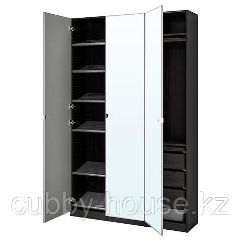 ПАКС / ВИКЕДАЛЬ Гардероб, комбинация, черно-коричневый, зеркальное стекло, 150x38x236 см, фото 2
