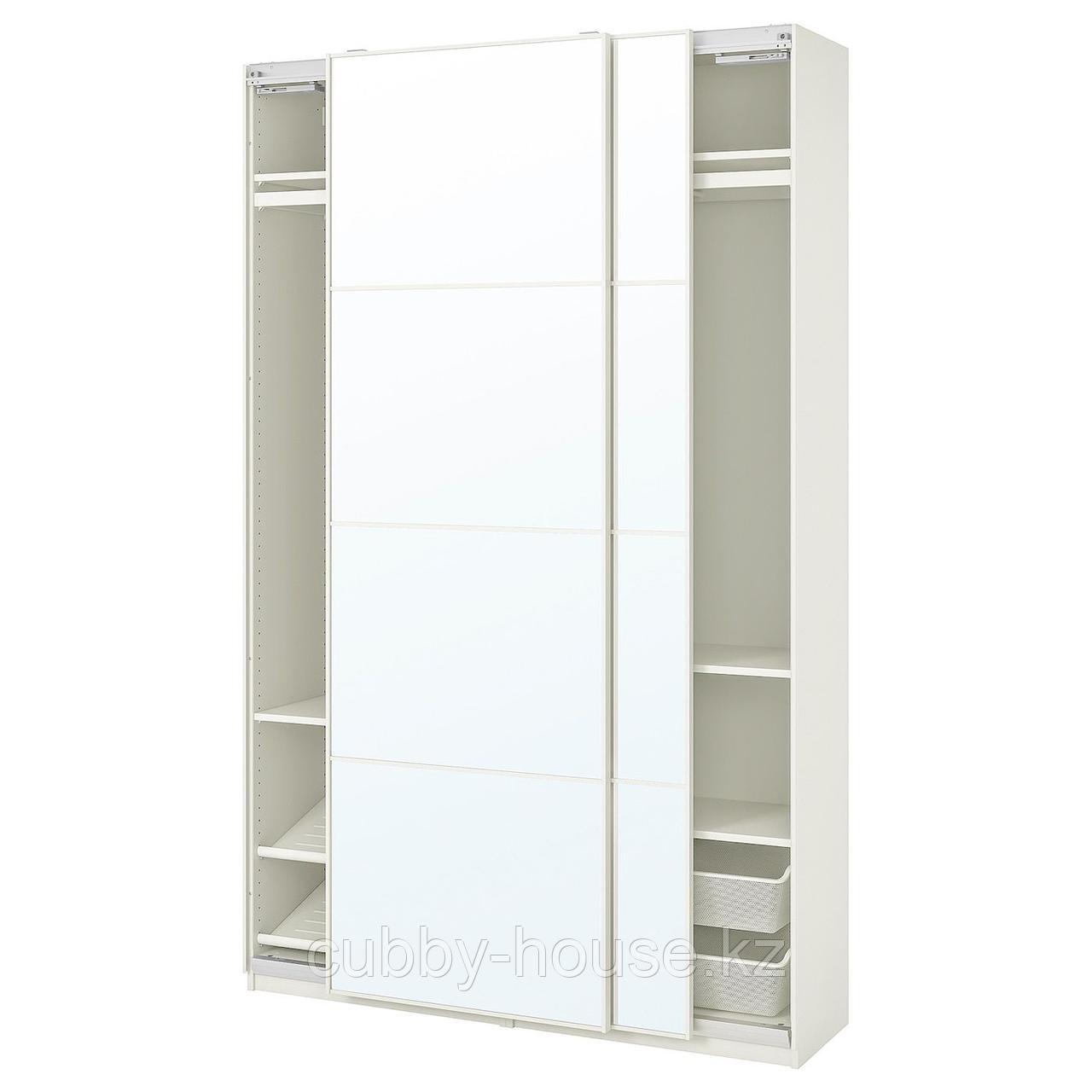 ПАКС / АУЛИ Гардероб, комбинация, белый, зеркальное стекло, 150x44x236 см