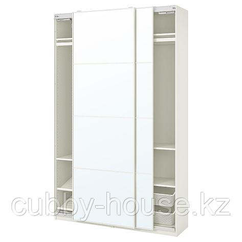 ПАКС / АУЛИ Гардероб, комбинация, белый, зеркальное стекло, 150x44x236 см, фото 2