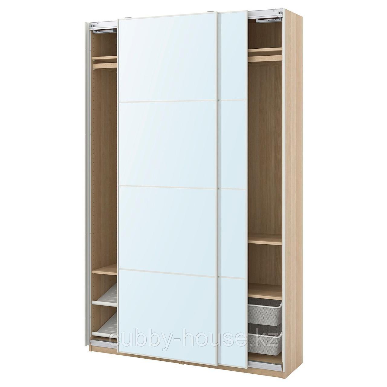 ПАКС / АУЛИ Гардероб, комбинация, под беленый дуб, зеркальное стекло, 150x44x236 см