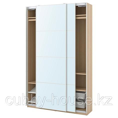 ПАКС / АУЛИ Гардероб, комбинация, под беленый дуб, зеркальное стекло, 150x44x236 см, фото 2